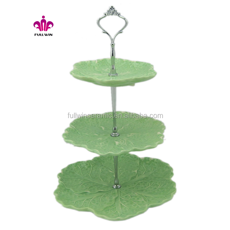 ceramic 3-layer cake stand with cabbage shape