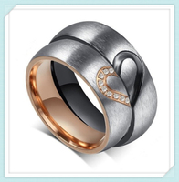 Hotsale item men women heart mathing design stainless steel vogue jewelry wedding rings