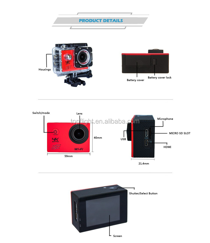 Ultra HD 4K Action Camera 1080P Waterproof Diving Camera 170 Degree Action Cam 2.0'' Screen wifi Sport DV