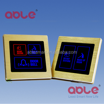 ABLE hotel metal frame touch panel doorbell switch with Do Not Disturb/room number/make up room