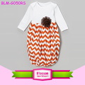 Baby Girl Coming Home Outfit Sleep Sack Fall Thanksgiving Halloween White Orange Chevron Newborn Baby Layette Gown