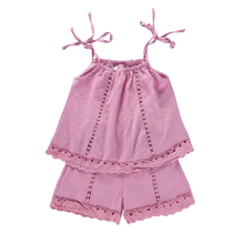 set <strong>girl's</strong> <strong>dress</strong> bows sleeveless t-shirt +short Huzhou Summer child lace Frock Design
