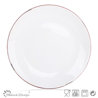 white color crackle design ceramic plate and dish with red rim