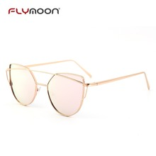 Wholesale street fashion promotion ladies flat lens cat eye sun glasses sunglasses