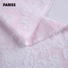 most popular pink rose jacquard polyester cotton dress floral fabric