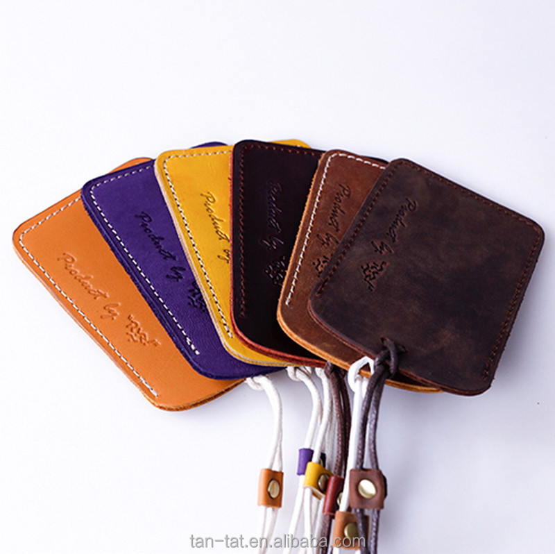Genuine Leather ID Badge Holder Slim Wallet Leather Lanyard