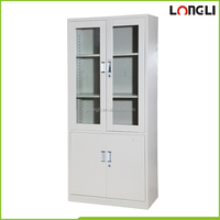 Henan luoyang modern steel office furniture 2 swing glass door metal file cabinet / steel file cabinet