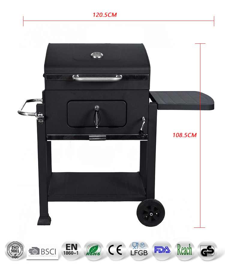 outdoor classic 24 inch trolley square heavy duty barbecue grills europe hotsale rectangular charcoal luxury BBQ grill