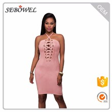 Grommet Detail Halter Suede Bodycon back lace Dress for lady evening club