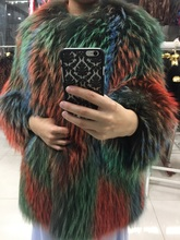 Colorful real raccoon fur coat
