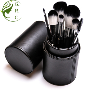Private label 8pcs high quality makeup blush brush set eye shadow cosmetic brush with cup holder case