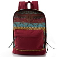 print canvas school backpack, School bag for girls
