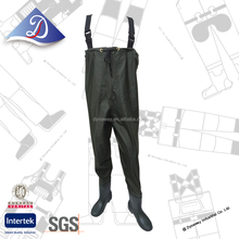 Anti-slip high quality chest waders, PVC waterproof chest waders With Boots