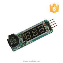 Wholesale Price Indicator RC Lipo Battery Low Voltage Tester Checker 1S-8S Buzzer Alarm With LCD Display