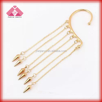 Fashion gold ear tops designs no piercing earring punk earring sold individually-QXER14164