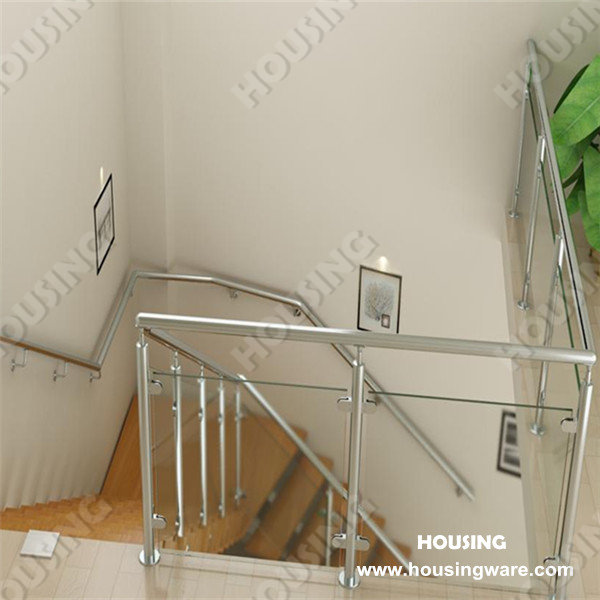 Stainless Steel Railing Stair for indoor or outdoor, Wooden tread L-shape, Straight staircase