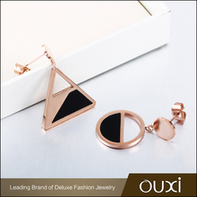 Latest Design Popular Personalized Geometric Figures Rose Gold Color Earring