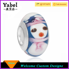 Top Quality Stamped 925 Lovely Snowman Cute Murano Glass Beads Lampwork Christmas Glass Beads