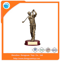 Custom 12-1/4 Inch Antique Gold Resin Male Golf Figure Trophy