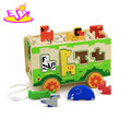 wholesale cheap children wooden animal bus with animal blocks W05C066