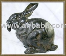 Hand Made Old Thai Solid Bronze House Rabbit Crouching Sculpture