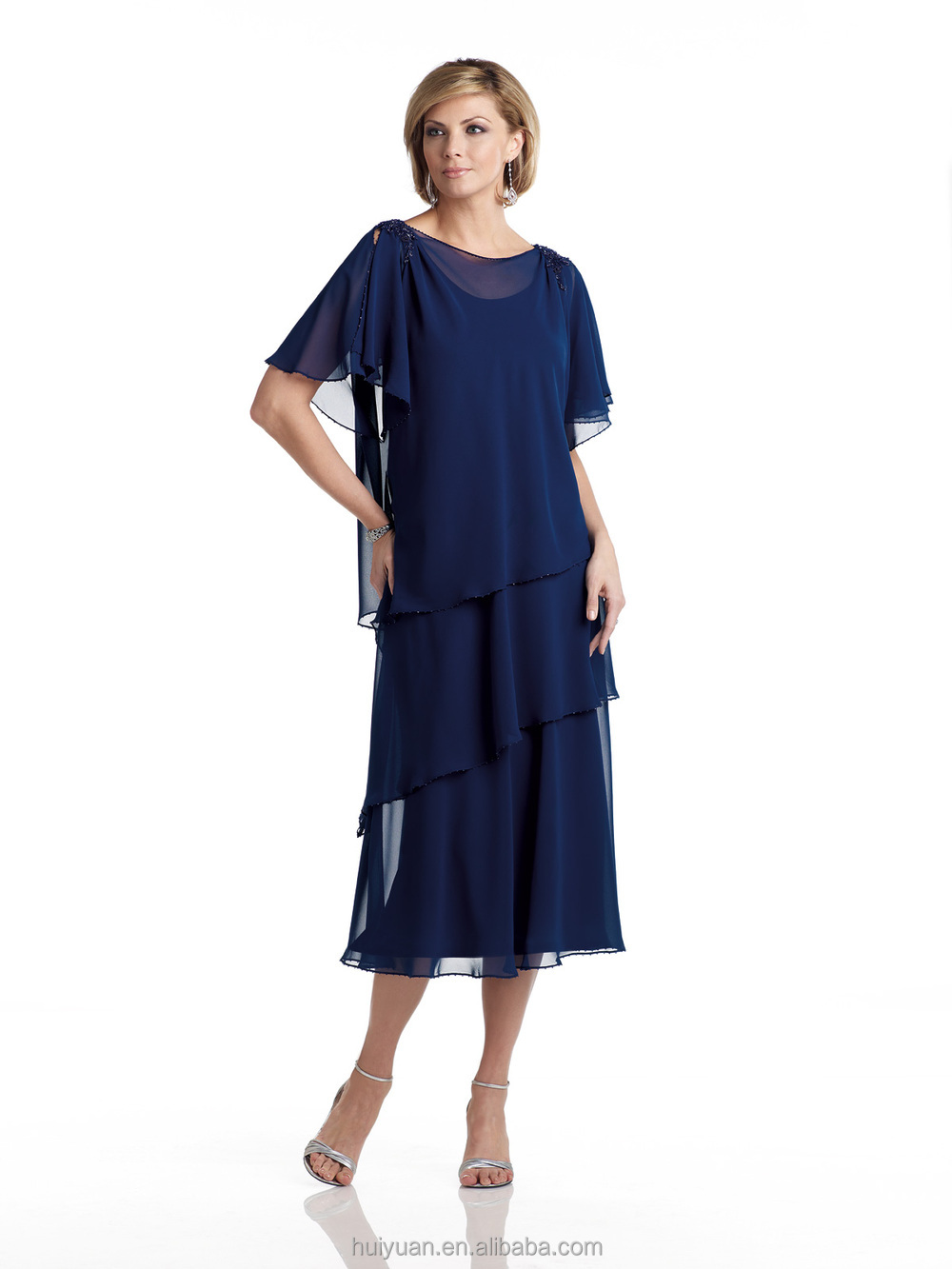 royal blue short sleeve knee length mother chiffon dress