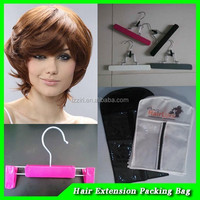 factory pvc and non woven hair extension with hanger Customized newly design human hair extension paper bag