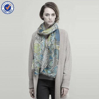 Pure Cashmere scarf wholesale SWC705 Twill 200NM Printing shawl