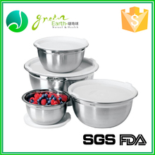 Promotion kitchenware storage mixing bowls set stainless steel food container with lid