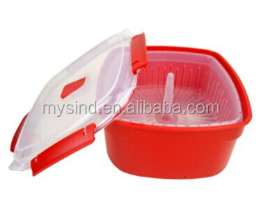 plastic square microwave steamer