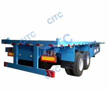 Tri-axle 40ft Flatbed Container Semi Truck Trailer with 6 tires For Sale