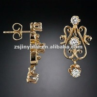 New Design Fashion Jewelry of Round CZ Diamond Victorian Revival Style Gold Stud Earrings