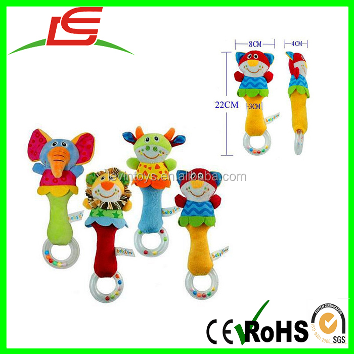 2017 newbron gift animal hand bells plush baby rattle toys for bebe