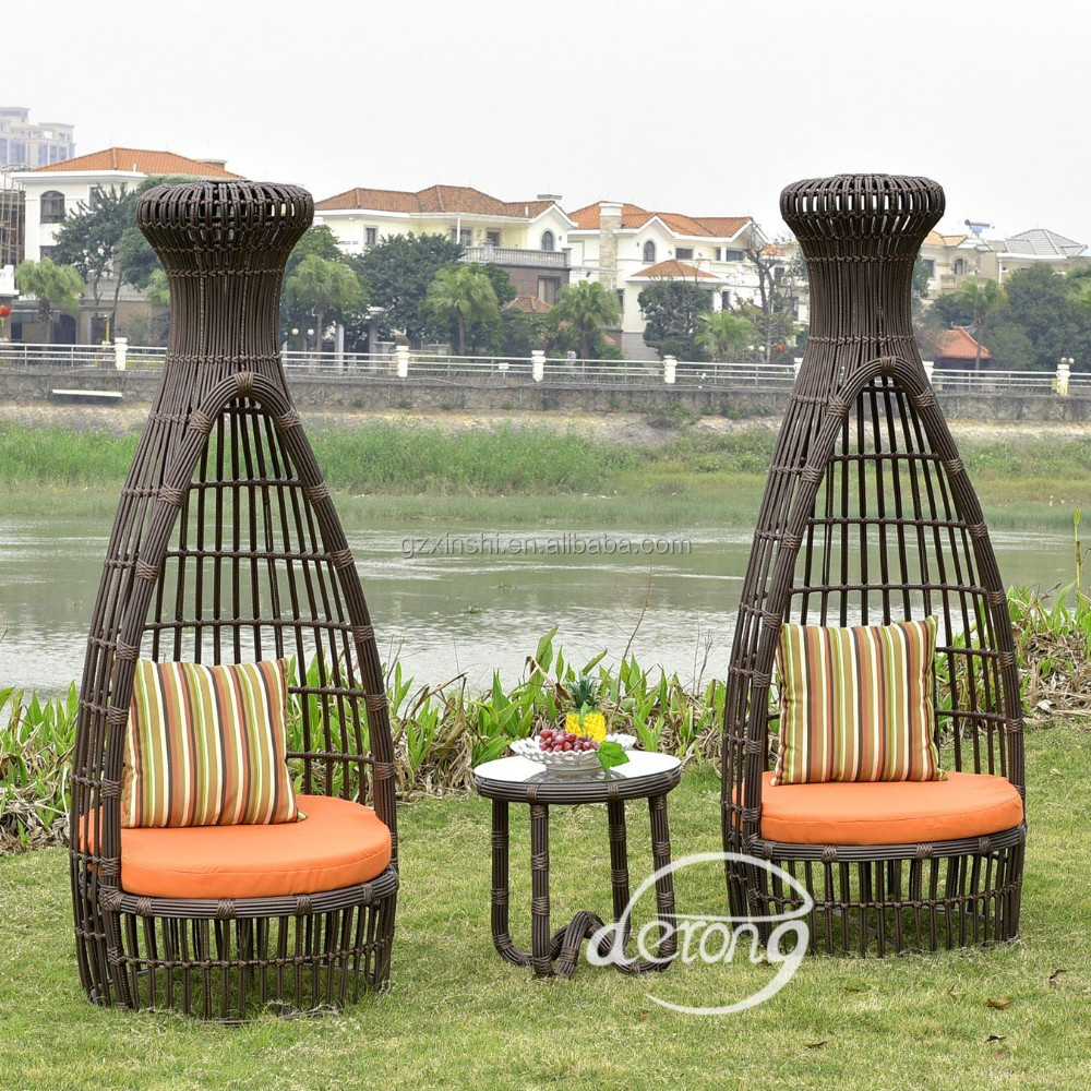 tropical hotel village patio stylish chairs outdoor PE rattan waterproof funiture