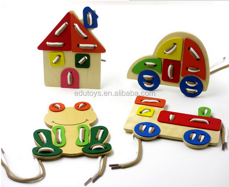 2017 New Design Animal Lacing Toy,Classic Wooden Lacing Toy,Colorful Lacing Toy