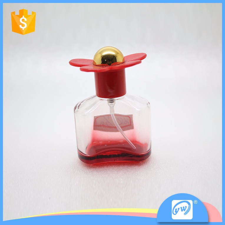 A2650-20ml cute appearance smart collection glass flower cap bottle with pump sprayer