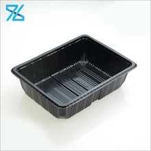 Wholesale Black Color Rectangular Disposable Packaging Plastic Mushroom Tray