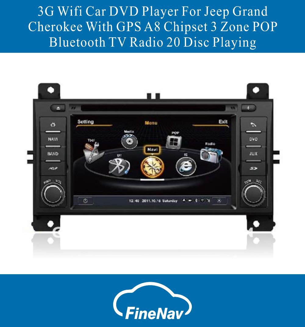 A8 Chipset 3G Wifi Car DVD Player For Jeep Grand Cherokee With GPS 3 Zone POP Bluetooth TV Radio 20 Disc Playing