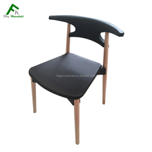 Wood Legs Modern Design Durable Plastic Commercial Restaurant Chairs