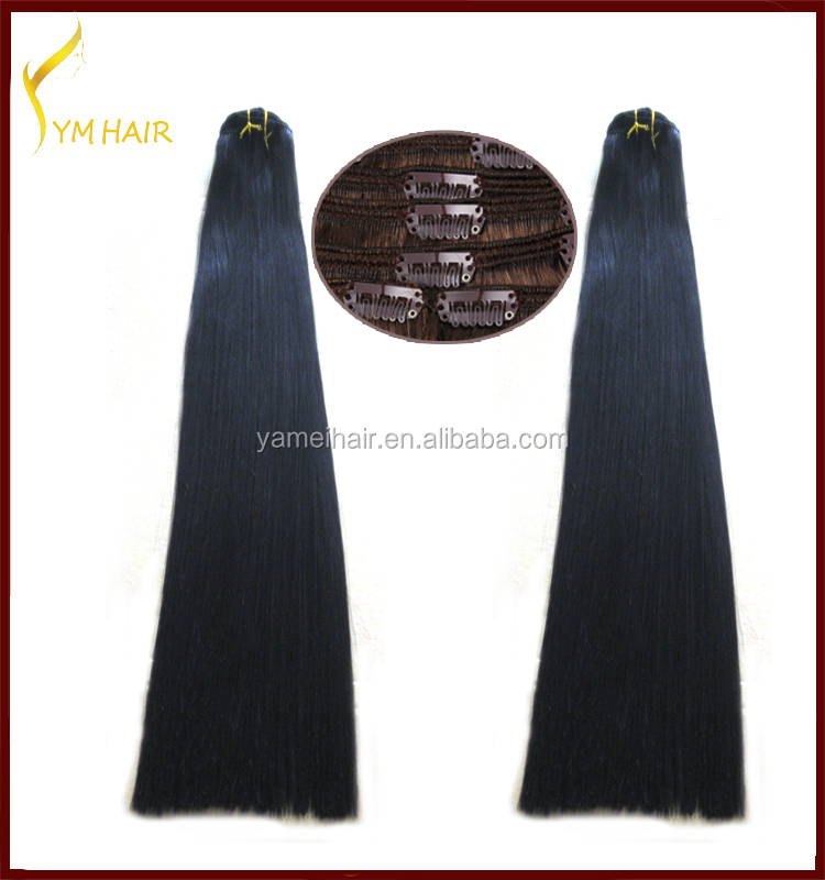 Wholesale100% Indian remy human hair double drawn full head clip in hair extension