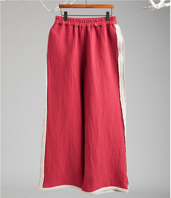 Chinese style flax loose straight nine points slacks wide-legged pants
