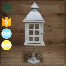 wedding decoration & home decoration classic white hurricane wooden candle holder lantern