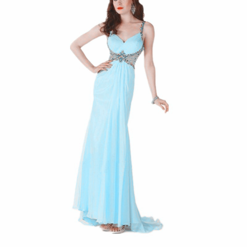 Long ruffle sweep train chiffon beaded spaghetti strap mexican evening dress