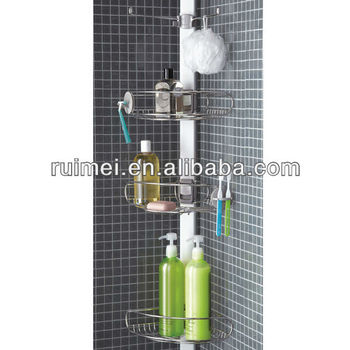 Stainless steel tension pole corner shower caddy buy - Bathroom corner caddy stainless steel ...