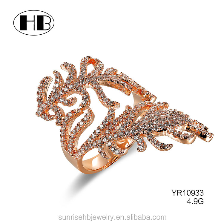 high quality wholesale gold filled jewelry rose gold napkin ring feather ring