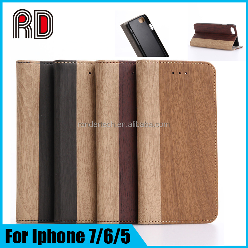 2016 Mobile Phones Original Wood Flip Leather Case for iphone 6 wooden case