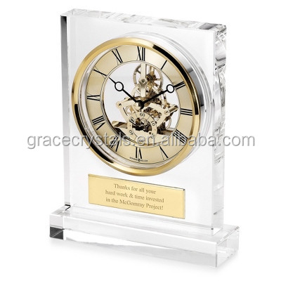 Large mechanical crystal clock skeleton clock table standing crystal clock