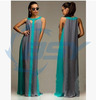 2016 New Style Grey Blue Belt Chiffon Party Patchwork Cocktail Dress
