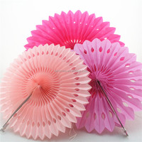 Wedding and Party decoration Colorful Cut out Tissue paper Fan hollow out Hanging Round honeycomb paper fan with hole