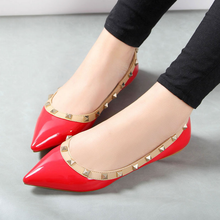 SAA6067 Stylish lady pumps shoes fancy pointed toe women casual flat shoes with rivet